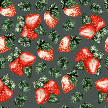 Red Strawberry On Dark Green Background, Seamless Pattern With Sweet Berries. Fresh Summer Fruits Vector Wallpaper Backdrop Or Textile.
