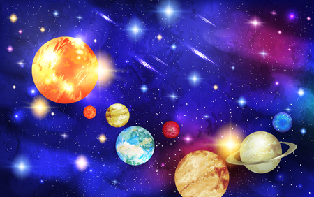 Solar system with stars and comets with tails. Sun, Mercury and Venus, Earth and Mars, Jupiter and Saturn, Uranus and Neptune. Astronomy and cosmos, celestial objects, astrology and universe, planets