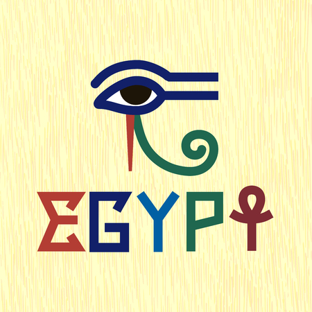 Egypt ancient style inscription with symbols of Ankh and Horus Eye on the papyrus yellow background