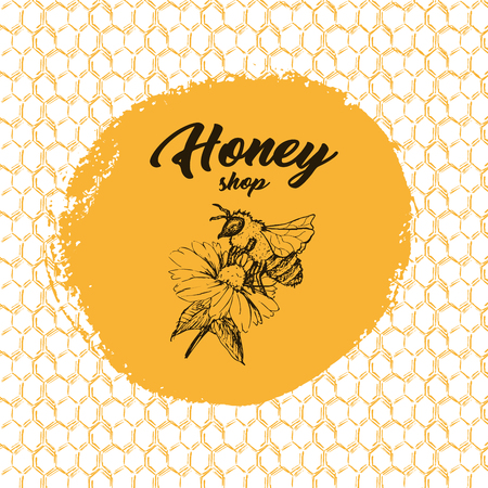 Honey Bee, Sketch Logo Design with Honeycomb Pattern. Vintage hand drawn isolated illustration with handcrafted lettering.
