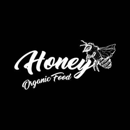 Honey Bee, Chalkboard Sketch Logo Design with Honeycomb Pattern. Vintage hand drawn isolated illustration with handcrafted white lettering.