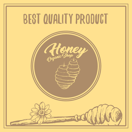 Honey Bee Poster Design with Sketch Circle Logo and Honeycomb Elements. Yellow Vintage Hand Drawn Illustration. Handcrafted Lettering.