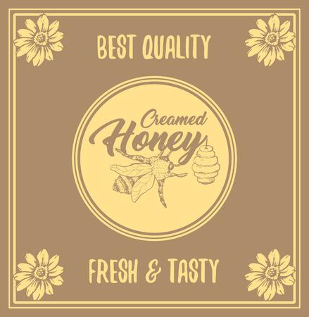 Honey Bee Poster Design con Sketch Circle Logo ed elementi a nido d'ape. Illustrazione disegnata a mano dell'annata gialla. Scritta artigianale.