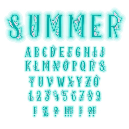 Summer Alphabet or Bold Font with Decorative Leaves. Typeset of Isolated Letters. Typography abc Characters, Numbers and Symbols for Party Design. Uppercase or Capital. Handcrafted Calligraphy
