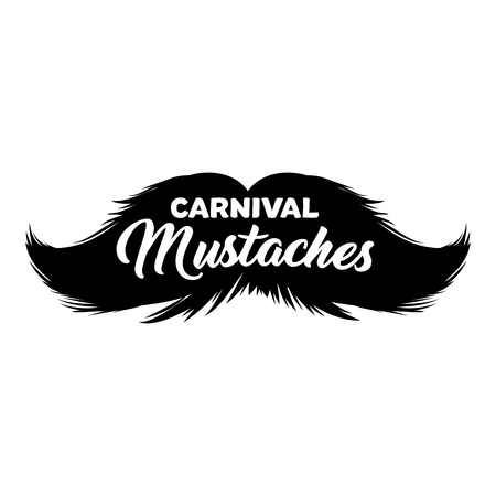 Moustaches Sticker with Lettering Word Carnival Mustaches. Black Isolated Silhouette for Cinco de Mayo Paper Cutting Design. Mustache for barbershop or Mustache Carnival