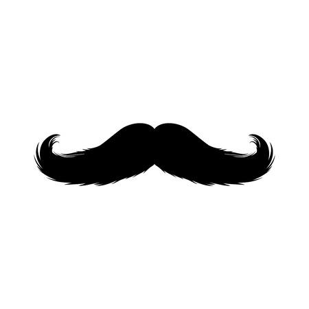 Etiqueta engomada de los bigotes. Siluetas negras aisladas para el diseño de corte de papel del Cinco de Mayo. Bigote para barbería o Bigote Carnival