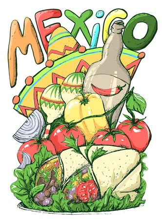 Mexican Food Sketch, Cinco de Mayo Celebration Banner, Festive Illustration or Flyer. Inscription Mexico with Maraca, Sombrero or Mexican Hat. Mexican Food Like Tomato, Pepper and Burrito. Illustration