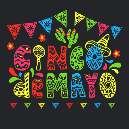 Cinco de mayo funny font or type with letters as maraca and wearing sombrero or mexican hat. Banner or flyer for latin american celebration of 5th of May with flags and flowers, cactus. Festive flyer Фото со стока - 122469142