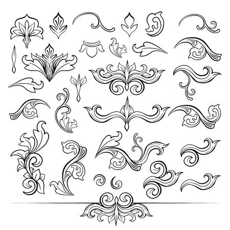 Bocetos de tocados florales negros vintage aislados. Decoración floral o adorno vegetal de tejido en estilo barroco o victoriano. Adorno real con hojas, elementos de viñeta de lujo.