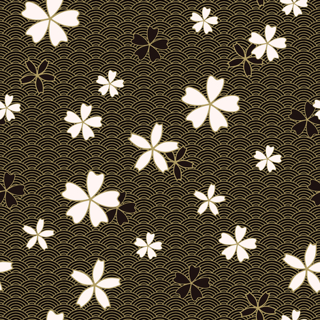 Japanese classic Sakura Vector Seamless Pattern floral in black and light beige colors. Traditional kimono, Asian festive motif. Spring flowers in blossom, golden stroke effect. Dark wavy background