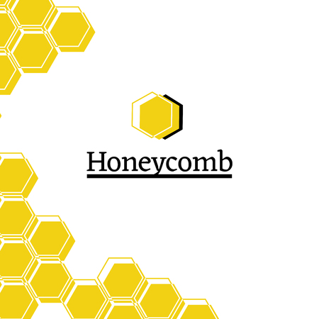 Honey shop flat vector logo illustration. Eco products store. Geometric honeycomb drawing. Pollination, beehive creative print. Hexagonal shape isolated clipart. Packaging, branding concept