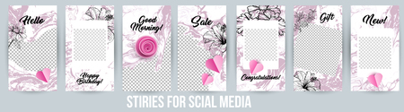 Stories Creative Modern Photo Frames Pack. Design templates for Social Media Presentations, Branding. Vertical Banners for Sale or Gift. Vector Illustrations with Acrylic Paintings