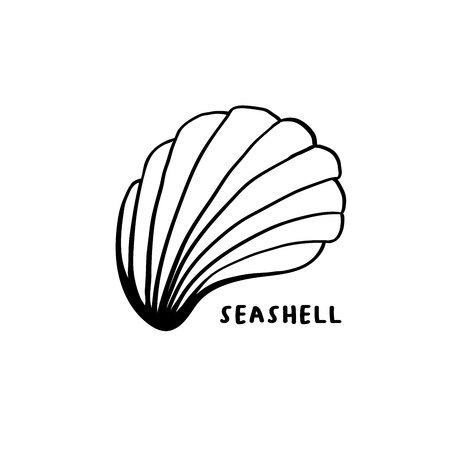 Angular murex seashell hand drawn illustration. Seashore conch, mollusk monochrome sketch. Freehand outline clam shell engraving. Conchology isolated design element. Realistic ink pen drawing 일러스트