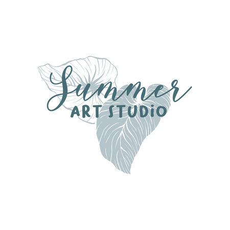Summer art studio logotype vector template. Monstera leaves hand drawn logo layout. Art supply shop, store signboard. Philodendron, silver cloud plant. Silhouette and outline exotic leaves drawing Ilustração