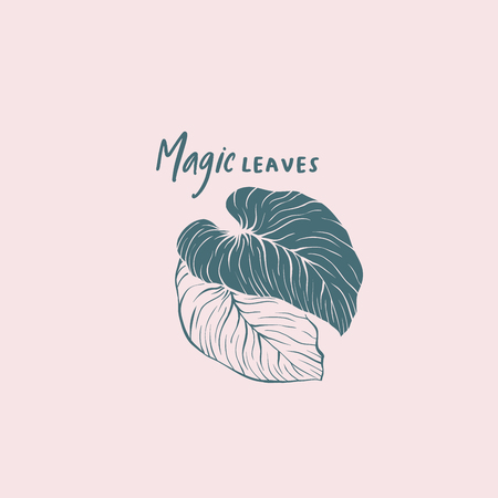 Tropical magic leaves vector logo template. Silhouette and contour monstera foliage isolated drawing. Calligraphic lettering on pink background. Exotic palm illustration. Botanical logotype design