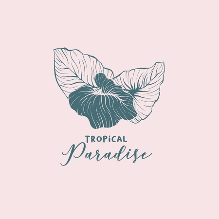 Summer resort hand drawn vector logo layout. Monstera, philodendron leaves sketch drawing. Calligraphy with exotic foliage illustration. Tropical paradise logotype linear design concept