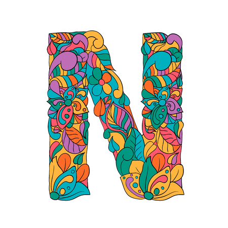 Floral N letter contour illustration. Alphabet symbol with leaves, flowers doodle drawing. Multicolor fantasy blossom. Monogram with color batik texture. Isolated clipart in psychedelic style