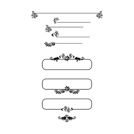 Black silhouettes for calligraphic design. Vector frames isolated on white. Menu and invitation design elements, page decor. Vector Illustration