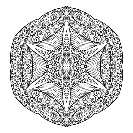 Art. Lacy Mandala. Ethnic decorative element. Hand drawn backdrop. Islam, Arabic, Indian, ottoman motifs. Boho style. Illustration
