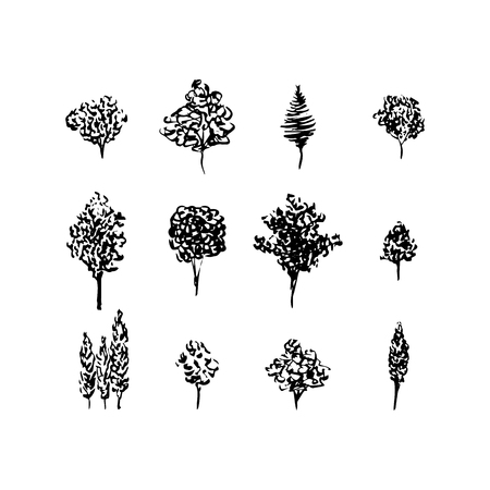 Trees black silhouettes, set isolated on white. Hand drawn ink style. Christmas tree, fruit tree