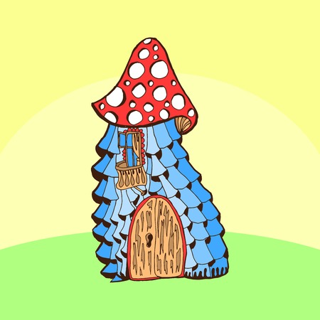 Fairy cartoon doodle style ornamental colorful house. Stylized Mushroom Ilustração