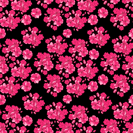 Valentines Day background with pink flowers - japanese cherry blossom on the white background. Seamless pattern for Valentine's Day design.