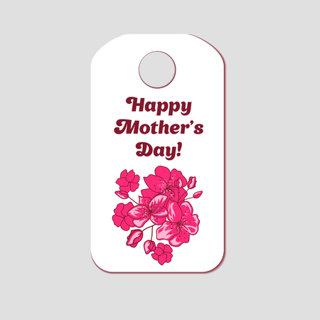 Happy Mothers Day banner design with pink sakura flowers. Vector illustration