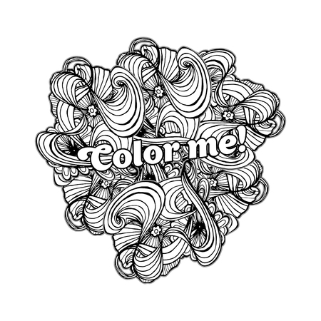 Black doodle style ornament for coloring book.Vector illustration for fashion print design. Can be used as a cover for adult coloring book