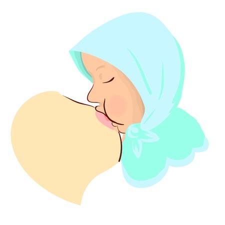 Breastfeeding vector illustration. Mother breastfeeding her baby. Nurturing newborn, Comfortable Medical Position. Illustration for World Breastfeeding Week