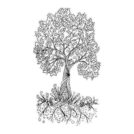 Feenhafter handgezeichneter schwarzer Strichzeichnungsbaum. Vektorgrafik