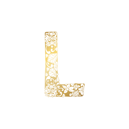 Golden Floral Ornamental Alphabet, Initial Letter L Font. Vector Typography Symbol for Gold Wedding and Monograms Isolated Ornament Design Illustration