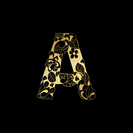 Golden Floral Ornamental Alphabet, Initial Letter A Font. Vector Typography Symbol for Gold Wedding and Monograms Isolated Ornament Design on Black Background