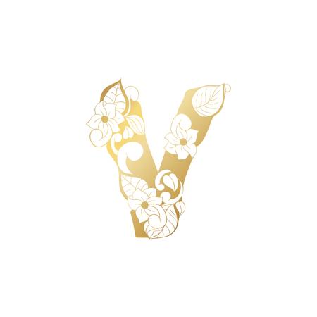 Golden Floral Ornamental Alphabet, Initial Letter V Font. Vector Typography Symbol for Gold Wedding and Monograms Isolated Ornament Design Illustration