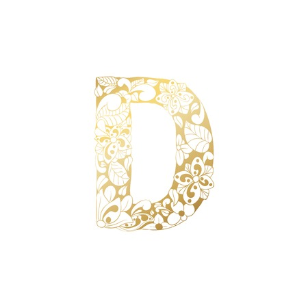 Golden Floral Ornamental Alphabet, Initial Letter D Font. Vector Typography Symbol for Gold Wedding and Monograms Isolated Ornament Design