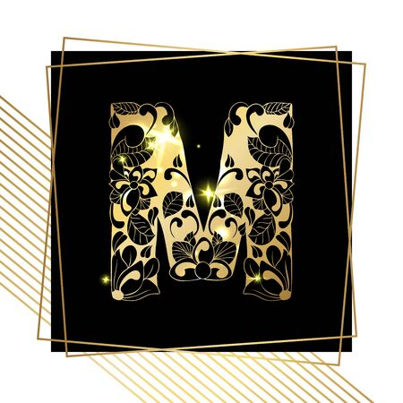 Golden Floral Ornamental Alphabet, Initial Letter M Font with Modern Stylized Frames. Abstract Lines Poster. Vector Typography Symbol for Gold Wedding. Monograms Isolated Design on Black Background Illustration