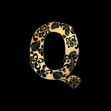 Golden Floral Ornamental Alphabet, Initial Letter Q Font. Vector Typography Symbol for Gold Wedding and Monograms Isolated Ornament Design on Black Background