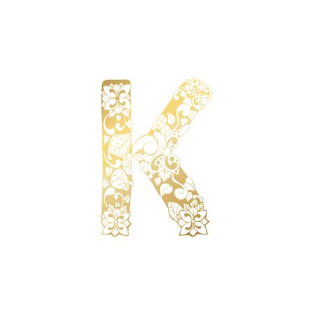 Golden Floral Ornamental Alphabet, Initial Letter K Font. Vector Typography Symbol for Gold Wedding and Monograms Isolated Ornament Design