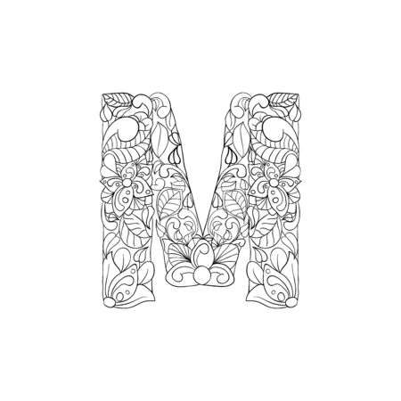 Coloring Book Floral Ornamental Alphabet, Initial Letter M Font. Vector Typography Symbol. Antistress Page for Adults and Monograms.Isolated Poster or Cover Design