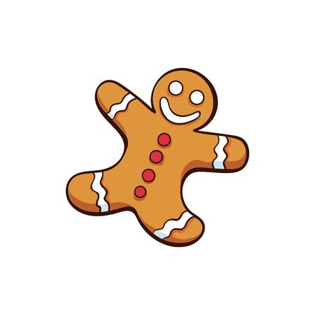 Christmas or New Year gingerbread isolated vector illustration. Freehand food decor for winter holidays on white background