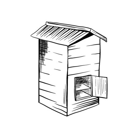 Honey Sketch Wooden Rustic Bee Hive with Opened Door. Isolated Vector Illustration for  Design or Poster Ilustração