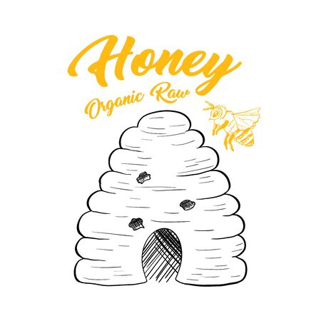 Honey Sketch Bee Hive Isolated Vector Illustration for Design or Poster with Wasp and Lettering Ilustração