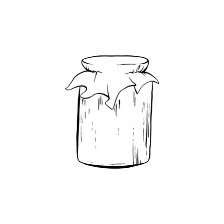 Honey Sketch Glass Jar with Canned Sweet Food. Isolated Vector Illustration for  Design or Poster