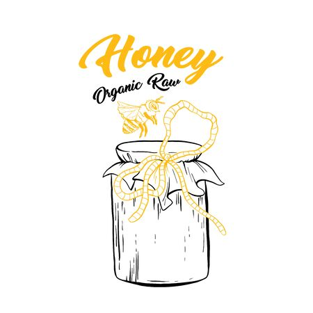 Honey Sketch Glass Jar with Canned Sweet Food. Isolated Vector Illustration for  Design or Poster with Organic Lettering