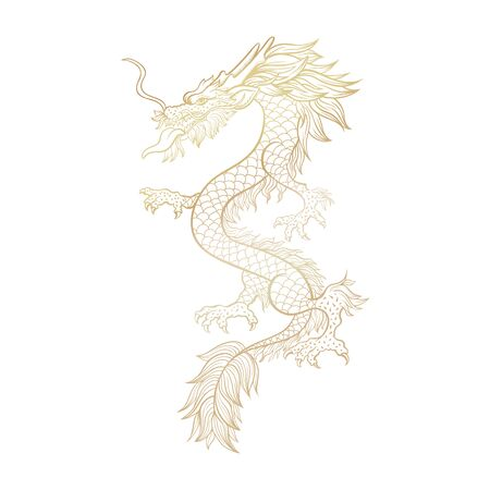 Golden Chinese mythic dragon laser cut file for plotter. Legendary oriental mythological creature on white background. Asian ceremonial serpent in threatening pose. Vertical hand drawn illustration. Çizim