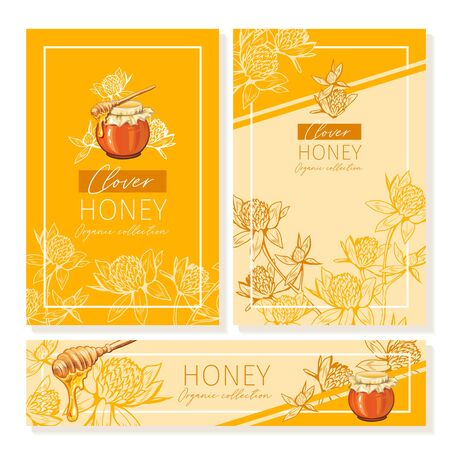 Clover Honey Print Template. Yellow and Orange Banners for Thanksgiving Holiday or Packaging Brand Identity. Vector Illustration Çizim