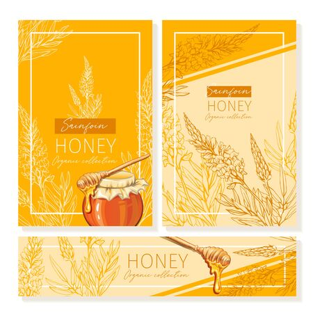 Sainfoin Honey Print Template. Yellow and Orange Banners for Thanksgiving Holiday or Packaging Brand Identity. Vector Illustration