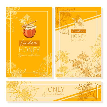 Linden Honey Print Template. Yellow and Orange Banners for Thanksgiving Holiday or Packaging Brand Identity. Vector Illustration