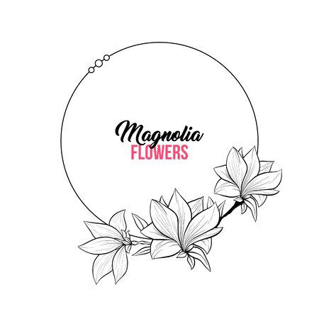 Magnolia Contour Drawing Branch. Circle or Round Frame for Wedding Design. Isolated Vector Elegant Illustration