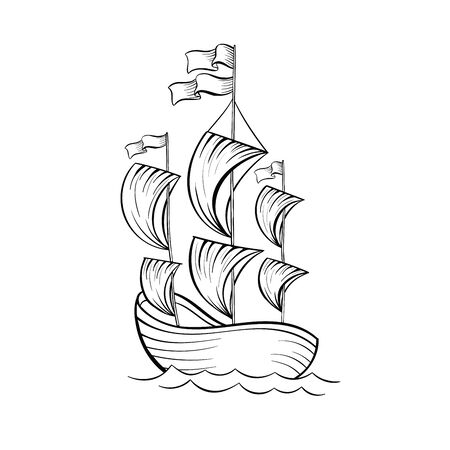Sailboat black and white vector illustration. Ancient vessel with sails and flags sketch for coloring book. Vintage ship on waves engraving. Voyage tour poster design element