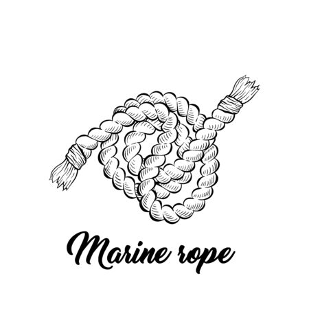 Marine rope black and white vector illustration. Sea vessel, boat, yacht equipment sketched outline. Strong twisted cord for nautical transport monochrome engraving. Coloring book illustration